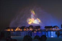 Singapore, isole di Sentosa, manifestazione del laser Fotografia Stock Libera da Diritti