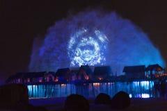 Singapore, isole di Sentosa, manifestazione del laser Fotografia Stock