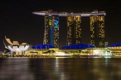 SINGAPORE-JAN 31日2015年:小游艇船坞海湾铺沙旅馆 库存图片