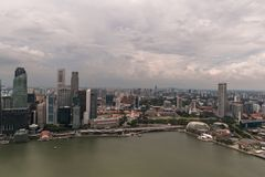 SINGAPORE - JAN 19, 2016: beautiful scenic view of city with skyscrapers Royalty Free Stock Photos