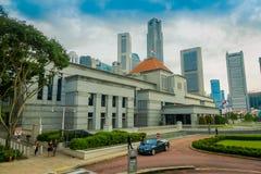 SINGAPORE SINGAPORE - JANUARI 30, 2018: Affärsmitt i stadshusområde, Singapore i staden av Singapore Royaltyfri Fotografi