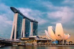 Singapore-Januari 18, 2018: Marina Bay Sands arkivbild