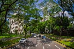 SINGAPORE, SINGAPORE - JANUARI 30 2018: Mooie openluchtmening van vele auto's in weg het omringen van vegetatie bij Stock Foto
