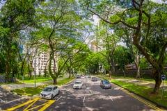 SINGAPORE, SINGAPORE - JANUARI 30 2018: Mooie openluchtmening van vele auto's in weg het omringen van vegetatie bij Royalty-vrije Stock Afbeeldingen