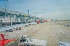 SINGAPORE, SINGAPORE - JANUARI 30, 2018: Openluchtmening van het parkeren van luchtazië bij Changi luchthaven in Singapore Changi Royalty-vrije Stock Afbeelding