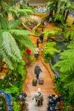 SINGAPORE SINGAPORE - JANUARI 30, 2018: Ovanför inomhus sikt av folk som går i en liten trädgård med växter inom av Fotografering för Bildbyråer