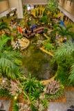 SINGAPORE SINGAPORE - JANUARI 30, 2018: Ovanför sikt av folk i en liten trädgård med växter och ett ursnyggt pund med a Arkivbild