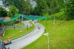 SINGAPORE SINGAPORE - JANUARI 30, 2018: Ovanför sikt av Singapore Sentosa Skyride, Luge Singapore Royaltyfri Fotografi