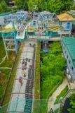 SINGAPORE SINGAPORE - JANUARI 30, 2018: Ovanför sikt av Singapore Sentosa Skyride, Luge Singapore Royaltyfri Foto