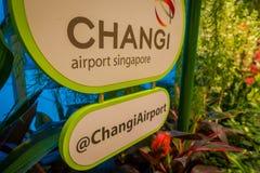 SINGAPORE SINGAPORE - JANUARI 30, 2018: Stäng sig upp av informativt tecken lokaliserade nästan en liten trädgård med växter inom Royaltyfria Foton