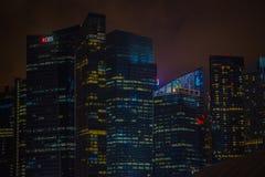 SINGAPORE SINGAPORE - JANUARI 30, 2018: Utomhus- sikt av Singapore horisont Singapore har en högt framkallad marknad Royaltyfri Fotografi