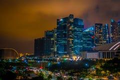SINGAPORE SINGAPORE - JANUARI 30, 2018: Utomhus- sikt av Singapore horisont Singapore har en högt framkallad marknad Royaltyfria Bilder