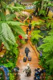 SINGAPORE, SINGAPORE - JANUARY 30, 2018: Above Indoor view of people walking in a small garden with plants inside of. Singapore Changi Airport. Singapore Changi Stock Image