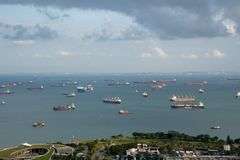 Anchorage area panorama opposite Gardens by the Bay with many ships on an anchorage royalty free stock image