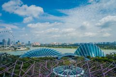 SINGAPORE, SINGAPORE - JANUARY 30, 2018: Beautiful above view of Cloud Forest Flower Dome at Gardens by the Bay in stock images