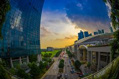 SINGAPORE, SINGAPORE - JANUARY 30, 2018: Beautiful landscape of Marina Bay Sands Ressort in a sunset, the worlds most Stock Image