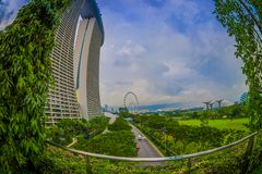 SINGAPORE, SINGAPORE - JANUARY 30, 2018: Beautiful landscape of two towers of the Marina Bay Sands Ressort against a Stock Image