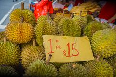 SINGAPORE, SINGAPORE - JANUARY 30. 2018: Close up of durian fruit, the famous tropical fruit in asian countries with its. Thorny skin but delicious and tasty royalty free stock photography