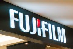 Fujifilm logo. SINGAPORE - JANUARY 14, 2018: Fujifilm logo. Fujifilm Holdings Corporation or simply Fuji, is a Japanese multinational photography and imaging stock photos