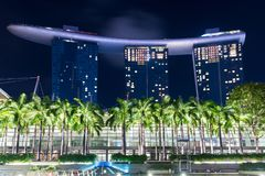 Singapore, 2017 January 10 - Landscape of the Marina Bay Sands h. Otel and art and science museum Royalty Free Stock Image