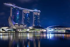 Singapore, 2017 January 10 - Landscape of the Marina Bay Sands h. Otel and art and science museum Stock Photography