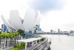 Singapore, 2016 January 14: Landscape of Marina Bay Sands hotel, bridge, museum of science and art and financial district Stock Image