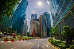SINGAPORE, SINGAPORE - JANUARY 30. 2018: Outdoor view of residential buildings complex and downtown skylines at Kallang. Neighborhood with some cars in the Royalty Free Stock Image