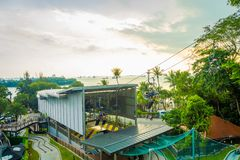 SINGAPORE, SINGAPORE - JANUARY 30, 2018: Outdoor view of unidentified people wnjoying the ride at Singapore Sentosa. Cable Car and Skyline Luge, in a beautiful Royalty Free Stock Photo