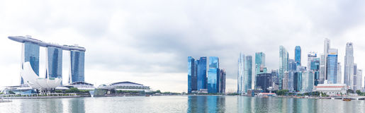 Singapore, 2016 January 14: Panorama of Marina Bay Sands hotel, bridge, museum and financial district Royalty Free Stock Images