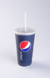 Singapore - January 28 2016 : tgv cinemas pepsi with ice cubes i. N cup on the background Stock Photography
