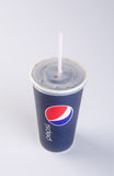 Singapore - January 28 2016 : tgv cinemas pepsi with ice cubes i. N cup on the background Stock Image