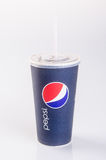Singapore - January 28 2016 : tgv cinemas pepsi with ice cubes i. N cup on the background Stock Photo