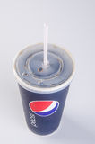 Singapore - January 28 2016 : tgv cinemas pepsi with ice cubes i. N cup on the background Stock Photos