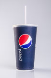 Singapore - January 28 2016 : tgv cinemas pepsi with ice cubes i. N cup on the background Royalty Free Stock Images