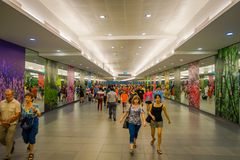 SINGAPORE, SINGAPORE - JANUARY 30, 2018: Unidentified people walking at Interior of Marina Bay Sands Shopping Mall in. Singapore. Singapore is a global Royalty Free Stock Photography