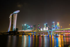 SINGAPORE - January 24: View of skyscrapers in Marina Bay on January 24, 2014 in Singapore. Singapore is world's fourth leadin Stock Images