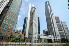 Finance district in Singapore. Singapore - Jul 3, 2015. Finance buildings at business district in Singapore. Singapore economy has been ranked as the most open Stock Photography