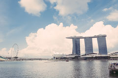 SINGAPORE-Jul 15, 2015: The Marina Bay Sands Resort in Singapore Royalty Free Stock Photo