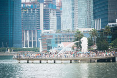 SINGAPORE - JUL 17: The Merlion fountain and Singapore City on J Stock Photos