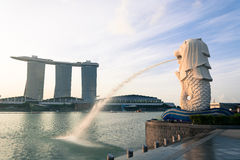 SINGAPORE, JUL 16 2015 : The Merlion and the Marina Bay Sands Re Royalty Free Stock Image