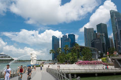 15 Singapore-juli, 2015: De Merlion-fontein in Singapore Merli Royalty-vrije Stock Fotografie