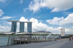 15 Singapore-juli, 2015: De Merlion-fontein in Singapore Merli Royalty-vrije Stock Foto's