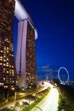 Singapore - Juli 9: Marina Bay Sands Hotel och Singapore reklamblad, 9 Juli 2013 Arkivbilder