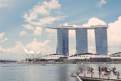 15 Singapore-juli, 2015: Marina Bay Sands Resort in Singapore Stock Foto's