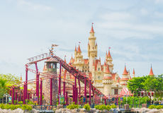 SINGAPORE-July 20 2015: beautiful castle and roller coaster in U Royalty Free Stock Photos