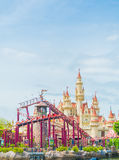 SINGAPORE-July 20 2015: beautiful castle and roller coaster in U Stock Images