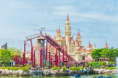 SINGAPORE-July 20 2015: beautiful castle and roller coaster in U Stock Photos