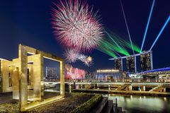 Beautiful fireworks display during National day parade in Marina Bay in Singapore stock photo