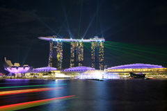 SINGAPORE - July 7, 2017 : Beautiful laser show at Marina Bay Sands. Royalty Free Stock Image