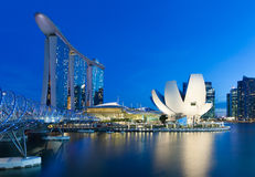 Singapore - July 10: Marina Bay Sands Hotel, Art Science Museum, Helix Bridge at 10 July 2013. Stock Photos